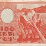 Erik Werenskiold, Lensekara, 1938. Motivet frå Kviteseid pryda hundrekroner-setelen til Noregs Bank. I bruk frå 1949 til 1979.